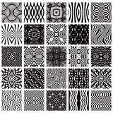 Set of 25 black and white geometric seamless patterns. Set of 25 black and white geometric seamless patterns, vector backgrounds collection Stock Photos