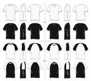 Set black and white graphic design tshirt. Front, side, back,  images Stock Images