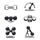 Set of black and white graphic dumbbell logo templates Stock Photography