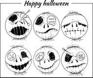 Set of black and white halloween-style smiles Stock Photos