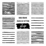 Set black and white hand draw vector seamless patterns Stripe Line vector illustration