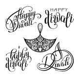 Set of black and white hand drawing design element lettering ins. Cription for Diwali celebration - indian fire festival collection, vector illustration Royalty Free Stock Images