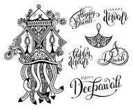 Set of black and white hand drawing design element lettering ins. Cription for Diwali celebration - indian fire festival collection, vector illustration Royalty Free Stock Image