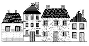 Set of Black and White Hand drawn Houses. Set of Black and White Houses Isolated on White Background-  illustration Royalty Free Stock Image
