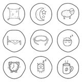 Set of black-white hand drawn icons on sleep theme Stock Images