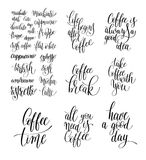 Set of black and white hand written lettering inscription Stock Image
