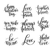 Set of black and white hand written lettering about love to vale Stock Image
