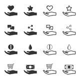 Set of black and white hands offering service icons. Isolated vector