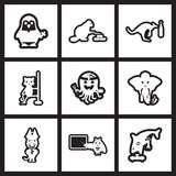Set of black  and white icons animals profession Stock Image