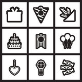 Set of black  and white icons celebration Royalty Free Stock Photography