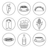 Set of black-white icons with mexican food Stock Image