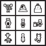 Set of black  and white icons profession animals Stock Photos