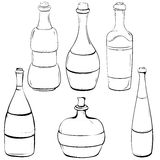Set of black and white illustrations in bottles made of outline Royalty Free Stock Image