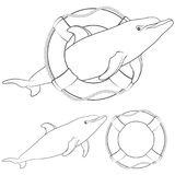 Set of black and white illustrations with a dolphin and a life buoy. Isolated objects. Stock Image