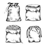 Set of black and white illustrations of hand drawn canvas bags. Objects separate from the background. Vector line art
