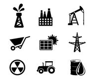 Set of black and white industrial icons Royalty Free Stock Photos