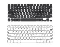 Set Black and White Keyboard Stroke QWERTY - Isolated Vector Illustration Royalty Free Stock Photo
