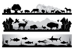 Set of black and white landscapes wildlife, farm, marine life Stock Photography