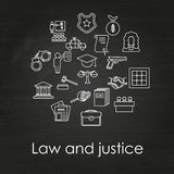 Set of black and white law and justice linear icons. On chalkboard background , The legal system, judge, police and lawyer Stock Photo