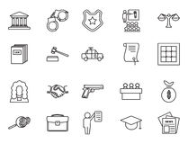 Set of black and white law and justice linear icons Stock Photo