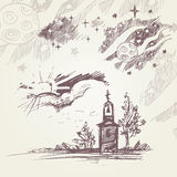 A set of black-and-white line drawings with the church, tree, sky, stars and the cosmos Stock Image