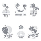 Set of black and white logo templates with palm tree Royalty Free Stock Photos