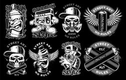 Set of black and white graffiti. Set of black and white logos, badges, stickers of graffiti characters on dark background. Text is on the separate layers stock illustration
