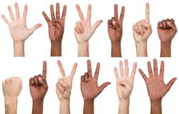 Set of black and white man`s hands. Male hands show figures, counting. Set of white and african-american male hand show figures, count one, two, three, four stock image