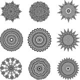 Set of black and white mandalas Royalty Free Stock Image