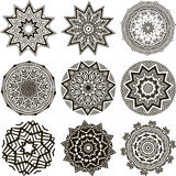 Set of black and white mandalas Stock Photography