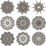 Set of black and white mandalas Stock Image