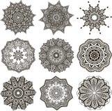 Set of black and white mandalas Stock Image