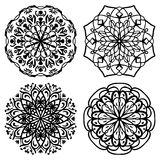 Set of black and white mandalas. Vector illustration Royalty Free Stock Photos