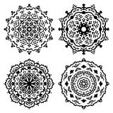 Set of black and white mandalas. Vector illustration Royalty Free Stock Images