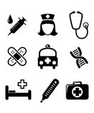 Set of black and white medical. Icons including a syringe, nurse, stethoscope, bandages, ambulance, thermometer, first aid kit and hospital bed isolated on Stock Photo