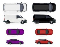 Set of black and white minibus, red and purple car. Side view and top view. Volumetric drawing without a grid and a Stock Photo