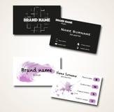Set of black and white modern minimalistic business cards. Black and white modern hipster minimalistic business cards with painting Stock Photography
