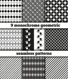 Set of black-white monochrome geometric seamless patterns. Set of nine samples of fabric with black-white monochrome geometrical patterns. Seamless texture. In Stock Image