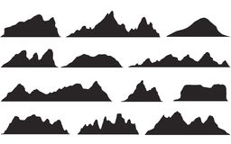 Set of black and white mountain silhouettes.Background border of rocky mountains. royalty free stock image