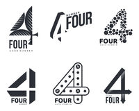 Set of black and white number four logo templates Royalty Free Stock Images