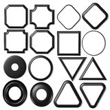 Set black & white objects. Different kind of frames and buttons Stock Photo