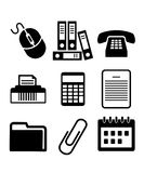 Set of black and white office icons Royalty Free Stock Images