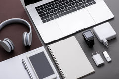 Set of black and white of office supplies and business gadgets. Stock Photo