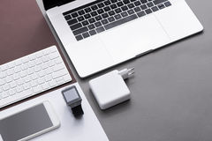 Set of black and white of office supplies and business gadgets. Stock Photos