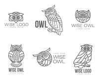 Set of black and white owl logo templates Stock Photography