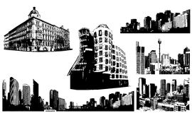 Set of black and white panorama cities. Royalty Free Stock Photo