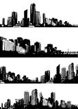 Set of black and white panorama cities. Stock Image