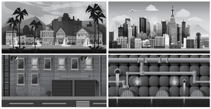 Set of black and white panorama cities. Vector art Stock Images