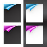 Set of Black and White Papers with Bent Corners Stock Photography