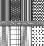 Set of black white Pattern Stock Photo